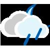 Nuboso con lluvia escasa noche